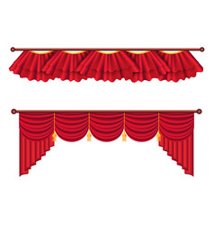 red curtains set luxury silk curtain vector image