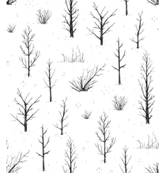 Scratchy trees black silhouettes seamless pattern vector