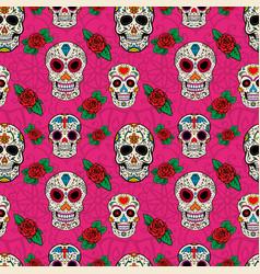 seamless pattern with sugar skulls vector image vector image
