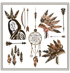 Set of ethnic style arrows feathers beads bow vector image