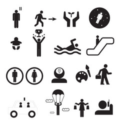 sign of people life setsilhouette human activity vector image vector image