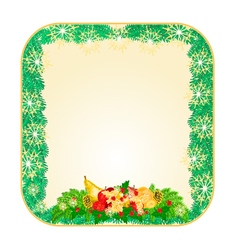 Button square Christmas Spruce with fruit vector image vector image