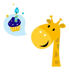 Cute cartoon party giraffe vector image