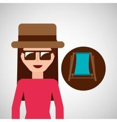 toursit female hat sunglasses beach chair vector image