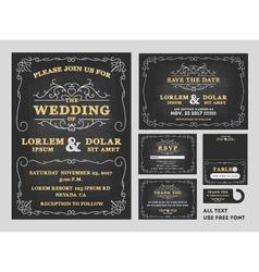 Vintage chalkboard wedding invitations design sets vector