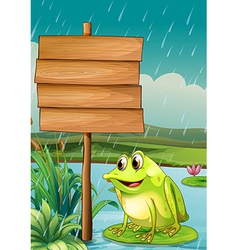 A frog near an empty wooden board vector image vector image