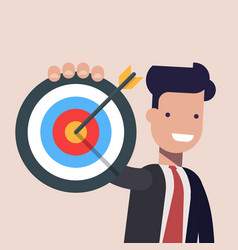 businessman or manager pointing to the big target vector image vector image