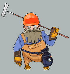 cartoon of a bearded man in helmet and working vector image