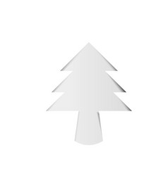 christmas tree white paper cutout with shadow vector image
