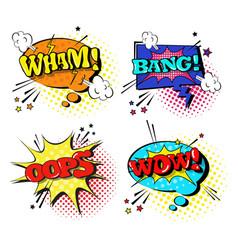 comic speech chat bubble set pop art style sound vector image
