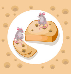 Mice cheddar cheese funny cartoon caracter vector