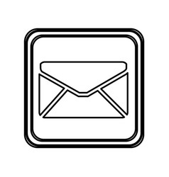 monochrome contour of button with envelope closed vector image