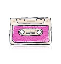 Retro cassette sketch for your design vector image