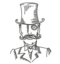 Retro man portrait in a top black hat vector image vector image