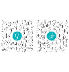 set letters i j hand drawn flourish vector image vector image