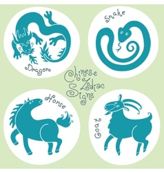 Set signs of the Chinese zodiac vector image vector image