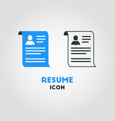simple business icon of resume in blue and black vector image