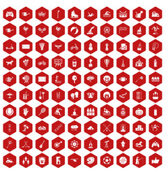 100 kids activity icons hexagon red vector