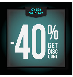 40 percent off holiday discount cyber monday vector