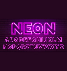 80 s purple neon retro font futuristic chrome vector image