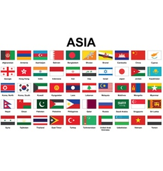 Asian countries flags vector image