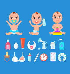 Baby and items for care set vector