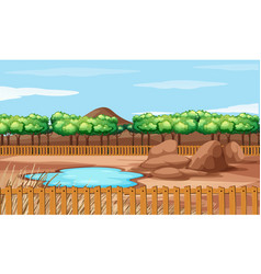 Background scene park with little pond vector