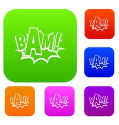 Bam comic book bubble set color collection vector