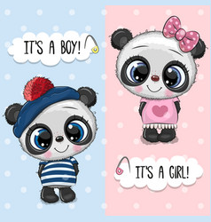 bashower greeting card with pandas boy and girl vector image