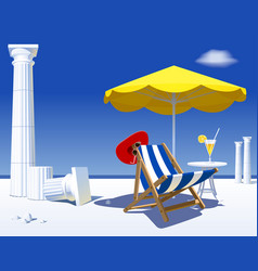 Beach chair and umbrella against backdrop of vector