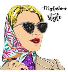 Beautiful fashion woman in sunglasses vector