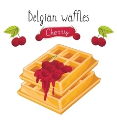 Belgian waffles with jam on white background vector