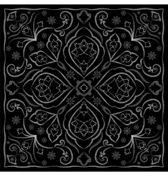 Black handkerchief with white ornament vector image vector image