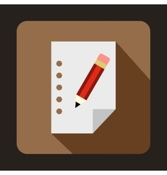 Blank sheet of paper and a pencil icon flat style vector