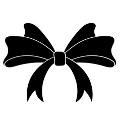 bow black silhouette ribbon knot vector image