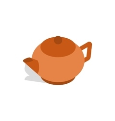 Brown teapot icon isometric 3d style vector