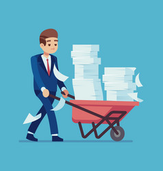 businessman with a pile papers cartoon vector image