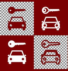 Car key simplistic sign bordo and white vector