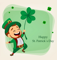 cartoon funny leprechaun holding clover vector image