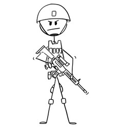 Cartoon modern army soldier in camouflage vest vector