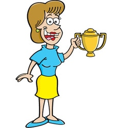 Cartoon women holding a trophy vector image