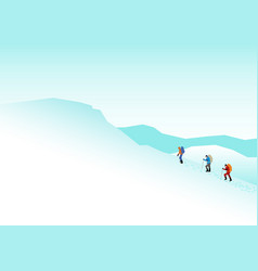 Climbers on the snowy mountains vector