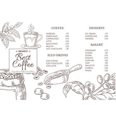 coffee menu quotes hand drawn coffee elements for vector image