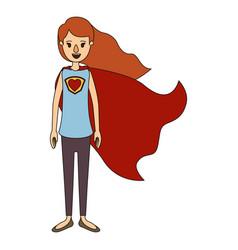 color image caricature full body super hero woman vector image