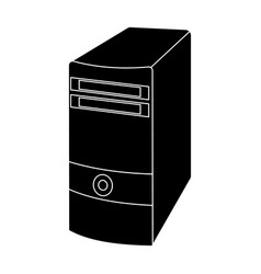 Computer case icon in black style isolated on vector