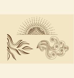 Creative curls floral ornament art design set vector
