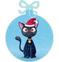 Cute black cat in christmas ball holiday card vector