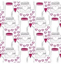 Cute jars pattern Valentines seamless background vector image