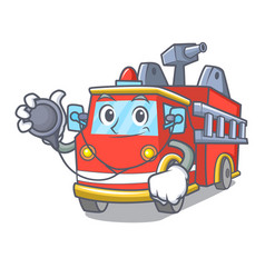 Doctor fire truck character cartoon vector