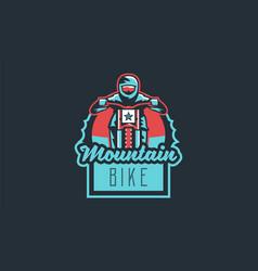 Emblem of a cyclist on a mountain bike sport bike vector